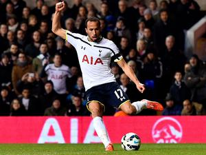Andros Townsend runs with the ball before scoring Tottenham's third goal
