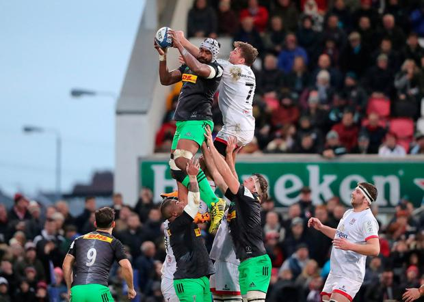 Harlequins' Tevita Cavubati in a line out. Photo: Niall Carson/PA Wire