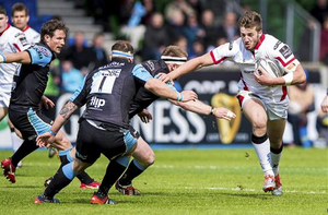 Stuart McCloskey, Ulster, is tackled by Andrew Warwick, Glasgow Warriors