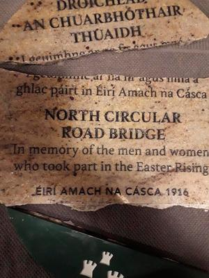 A plaque erected on Cabra Bridge last month in honour of the volunteers who fought in the first battalion during the 1916 rising has been ripped off the wall and smashed to pieces