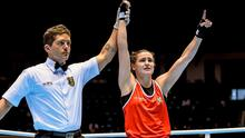 Katie Taylor celebrates after beating Yana Allekseevna, Azerbaijan