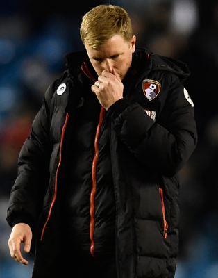 Eddie Howe shows his disappointment after Bournemouth's defeat at Millwall. Photo: Reuters