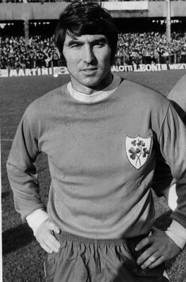 Tony Dunne pictured ahead of one of his 33 senior appearances for Ireland