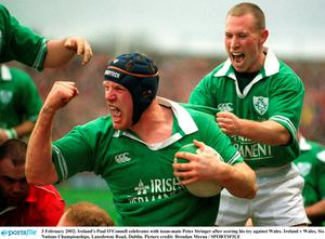 3 February 2002; Ireland's Paul O'Connell celebrates with team-mate Peter Stringer after scoring his try against Wales. Ireland v Wales, Six Nations Championships, Lansdowne Road, Dublin. Picture credit: Brendan Moran / SPORTSFILE