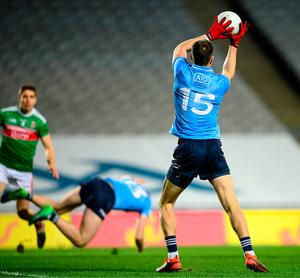 Dean Rock of Dublin scores his side's first goal during the GAA Football All-Ireland Senior Championship Final against Mayo at Croke Park. Photo by Stephen McCarthy/Sportsfile