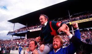Cyril Farrell is carried by Galway fans after the 1988 victory. Photo by Ray McManus/Sportsfile