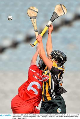 14 September 2014; Katie Power, Kilkenny, in action against Gemma O'Connor, Cork. Liberty Insurance All Ireland Senior Camogie Championship Final, Kilkenny v Cork, Croke Park, Dublin. Picture credit: Ramsey Cardy / SPORTSFILE