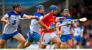 3 May 2015; Rob O'Shea, Cork, in action against Kevin Moran, left, and Austin Gleeson, Waterford. Allianz Hurling League, Division 1 Final, Cork v Waterford. Semple Stadium, Thurles, Co. Tipperary. Picture credit: Ray McManus / SPORTSFILE