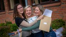 Elle Madigan from Kilkenny, Elva Kerr from Portlaoise and Jessie Foley from Wexford pictured getting the leaving certificate results at Kilkenny college in Kilkenny. Picture Dylan Vaughan
