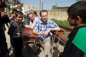 CEO of Goal Barry Andrews with some locals in Harem  Northern Idleb Governate Syria
