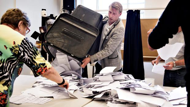 Ballots cast for the Danish parliamentary election are counted at a polling station in Copenhagen, Thursday, June 18, 2015.  (Christian Klindt Soelbeck/Polfoto via AP)