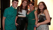 Christopher Kearney, Sinead Browne, Nicole Hughes and Beth May, Leixlip, celebrating their leaving cert results at Dandelion nightclub on St Stephen's Green, Dublin.