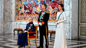 Danish Queen Margrethe II, Crown Prince Frederik and Crown Princess Mary attend a New Year Reception for the Diplomatic Corps at Christiansborg Castle in Copenhagen on January 2, 2020. (Photo by Keld Navntoft / Ritzau Scanpix / AFP)