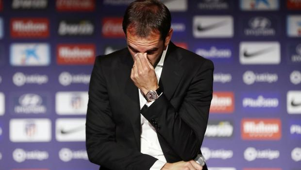 Diego Godin at the announcement of his departure from Atletico Madrid