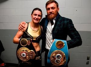 UFC fighter Conor McGregor with Katie Taylor following her WBA & IBF Female Lightweight World title bout against Cindy Serrano at TD Garden in Boston, Massachusetts, USA. Photo by Stephen McCarthy/Sportsfile
