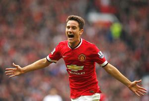 Manchester United's Ander Herrera celebrates scoring a goal against Queens Park Rangers during their English Premier League soccer match at Old Trafford in Manchester, northern England. REUTERS/Andrew Yates