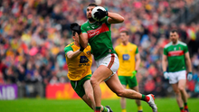 Aidan O'Shea charges past Niall O'Donnell and the Mayo talisman will need to be at his best if they are to overcome Dublin. Photo by Brendan Moran/Sportsfile