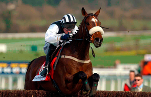 Moscow Flyer and Barry Geraghty winning the 2002 Arkle at Cheltenham Photo: Matt Browne / SPORTSFILE