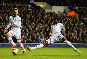 Emmanuel Adebayor of Tottenham Hotspur scores their second goal during the UEFA Europa League Round of 32 second leg match between Tottenham Hotspur and FC Dnipro Dnipropetrovsk at White Hart Lan