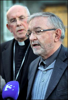 Responding at the Irish Catholic Bishops Conference to the Report of the Expert Group on the Judgement in A,B and C v  Ireland at Maynooth yesterday was from left, Archbishop of Armagh Cardinal Sean Brady and Bishop of Killaloe Kieran O'Reilly. Pic Steve Humphreys 5th November 2012.