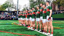 Mayo ahead of a championship encounter in New York in May. Photo: Sportsfile