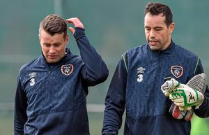 Shay Given and David Forde take a break from training in Malahide yesterday