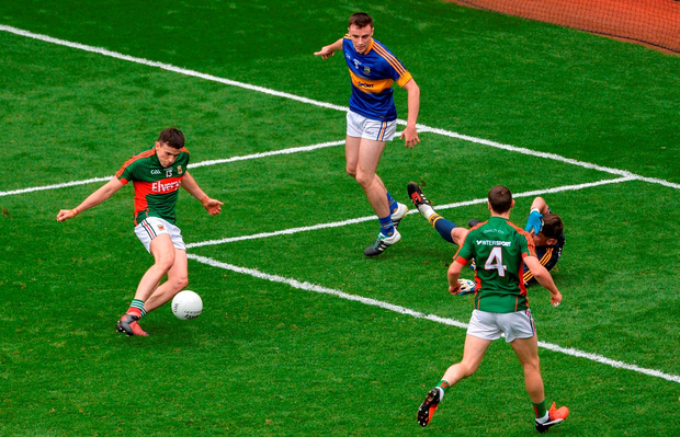 Mayo's Jason Doherty fires his team's first goal against Tipperary. Photo: Sportsfile