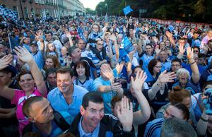 Dublin fans in Merrion Square during arrival celebrations of the Dublin GAA team.
