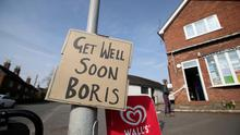 A sign of support for British Prime Minister Boris Johnson, who has been in hospital since Monday  as the spread of the coronavirus disease (COVID-19) continues, in Swynnerton, Britain, April 9, 2020. REUTERS/Carl Recine/File Photo