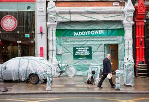 "NO FEE FOR 1ST REPRO With Ireland and the old enemy set to clash on these shores for the first time since English hooligans tore Lansdowne Road to pieces, Paddy Power have moved to protect their closest shop to the ground by Yob-Proofing the exterior of their Baggot St branch. The extraordinary step has seen the bookmaker cover the entire shop with bubble wrap in hope of avoiding any damage that may come from violent yobs, knobs and hooligans who may infiltrate the Three Lions' well-meaning travelling support.""   Paddy Power, a spokesperson for Paddy Power, said ""It's not that I'm anti-English. Some of my best friends are English. But you can't deny they have sent us some bad eggs over time. Cromwell for example. He would have smashed up The Aviva if it was around in the 1600s. Us Irish wage war in a more subtle way. We just pillage their players and send them Louis Walsh. Pic Paul Sharp/SHARPPIX"