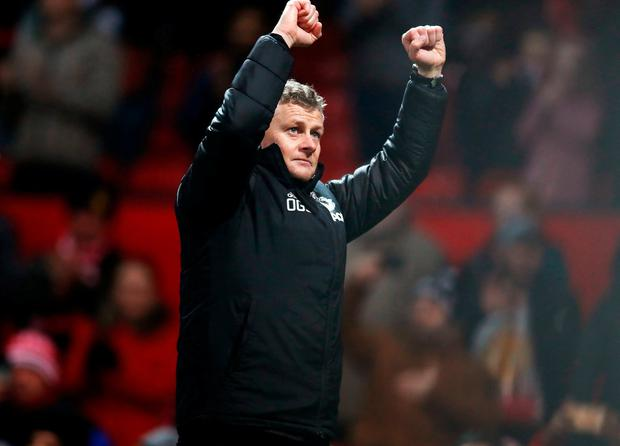 Manchester United manager Ole Gunnar Solskjaer acknowledges the fans. Photo: Martin Rickett/PA Wire