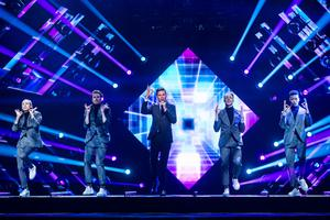 """Robin Bengtsson performs the song """"I Can't Go On"""" during Melodifestivalen 2017 at Friends Arena"""