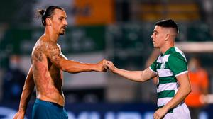 17 September 2020; Zlatan Ibrahimovic of AC Milan and Gary O'Neill of Shamrock Rovers following the UEFA Europa League Second Qualifying Round match between Shamrock Rovers and AC Milan at Tallaght Stadium in Dublin. Photo by Stephen McCarthy/Sportsfile