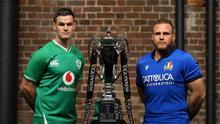 Ireland's Jonathan Sexton and Italy's Luca Bigi pose for a photo with the Six Nations Trophy. Photo: Steven Paston/PA