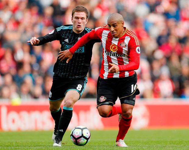 Sunderland's Wahbi Khazri in action with West Bromwich Albion's Craig Gardner. Photo: Lee Smith/Action Images via Reuters