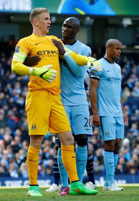 "Football - Manchester City v West Bromwich Albion - Barclays Premier League - Etihad Stadium - 21/3/15 Manchester City's Joe Hart and Eliaquim Mangala  Reuters / Darren Staples Livepic EDITORIAL USE ONLY. No use with unauthorized audio, video, data, fixture lists, club/league logos or ""live"" services. Online in-match use limited to 45 images, no video emulation. No use in betting, games or single club/league/player publications.  Please contact your account representative for further details."