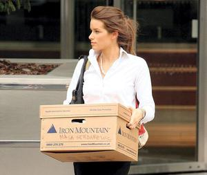 BOXED UP: Former Lehman Brothers employee Masa Serdarevic after the bank's collapse
