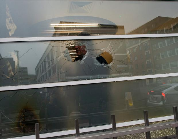 Windows were smashed at KBC Bank in Dublin city centre