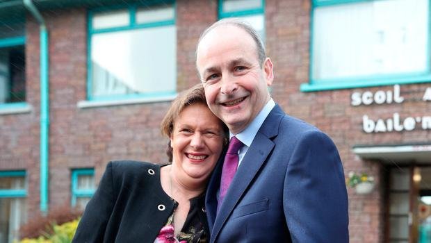 Fianna Fail leader Micheal Martin and wife Mary voting in Cork. Photo: Yui Mok/PA Wire