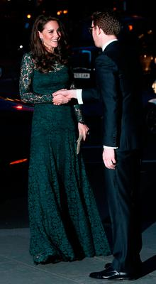 Catherine, Duchess of Cambridge is greeted by Director of the National Portrait Gallery Nicholas Cullinan as she arrives to attend the  2017 Portrait Gala at the National Portrait Gallery on March 28, 2017 in London, Britain.  (Photo by Neil Hall - WPA Pool/Getty Images)