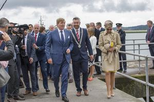 King Willem-Alexander and Queen Maxima of The Netherlands greeted by Cork County Mayor Cllr Christopher O'Sullivan(C) at Cobh Pier, Cork during their State visit to Ireland. Picture: Daragh Mc Sweeney/Provision
