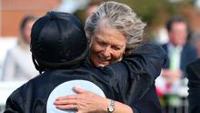 Millisle jockey Shane Foley is congratulated by trainer Jessica Harrington after winning The Juddmonte Cheveley Park Stakes at Newmarket yesterday. Photo: Nigel French/PA Wire.