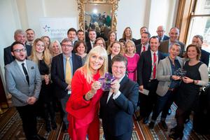 Catherine Vaughan of EY and Miriam O'Callaghan pictured with all the other winners after EY won the Employer of the Year Award at the inaugural GLEN Workplace Equality Index Awards at the Westin in Dublin yesterday. Photo: Paul Sharp/Sharpix