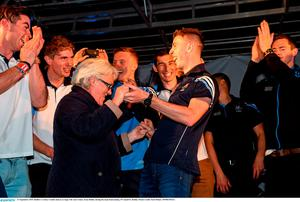 21 September 2015; Dublin's Cormac Costello dances on stage with Ann Grimes, from Dublin, during the team homecoming. O'Connell St, Dublin. Picture credit: Paul Mohan / SPORTSFILE