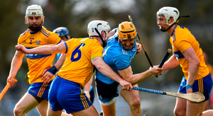 MADE TO WORK: Dublin's Éamonn Dillon is tackled by Pat O'Connor of Clare during their Allianz Hurling League Division 1B Round 5 match at Cusack Park in Ennis, Clare. Photo by Ray McManus/Sportsfile