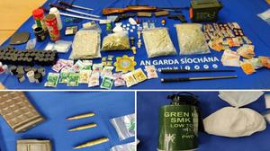 Some of the drugs and ammunition seized in the raid