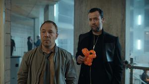Cop Roy Carver (Stephen Graham) finds his partner John Major (Daniel Mays) has been brought back to life as a cyborg in upcoming comedy series Code 404