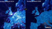 Grounded: A comparison of air traffic over Europe one year apart with reduced traffic due to coronavirus. The data was released by the National Air Traffic Services (NATS) in Britain. At the end of March, air traffic volumes in Germany were down by 80pc, as well as 82pc in France, 85pc in Spain, 88pc in Italy and 89pc in the UK. photo: PA