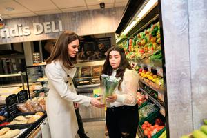 Department of Foreign Affairs and the British Embassy handout photo of the Duchess of Cambridge visiting a Londis supermarket in  Prosperous, Co Kildare,  during her three day visit to the Republic of Ireland. Julien Behal Photography/PA Wire