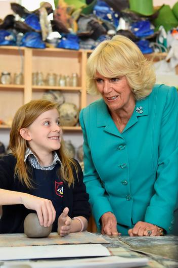 The Duchess of Cornwall visits the Claddagh National School in Galway on the first day of her Royal visit to the Republic of Ireland. PRESS ASSOCIATION Photo. Picture date: Tuesday May 19, 2015. See PA story ROYAL Ireland. Photo credit should read: Jeff J Mitchell/PA Wire